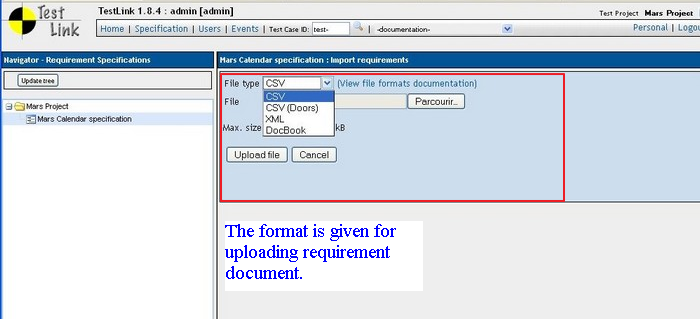 Requirement Specification In Test Link - Requirement specification