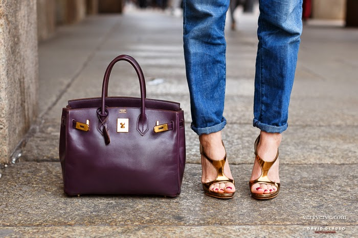 Hermes Handbag Birkin 25 Togo Raisin Gold Hardware 2015