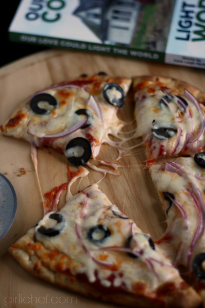 Onion and Black Olive Naan Pizza inspired by Our Love Could Light the World {book tour} | www.girlichef.com