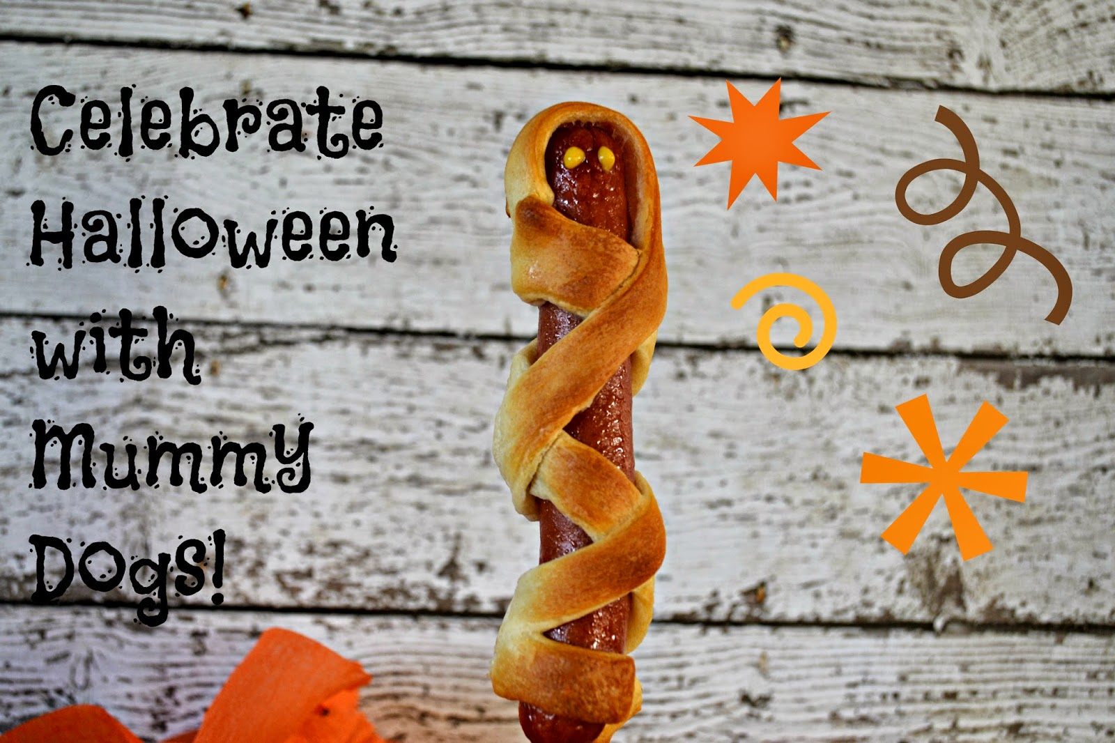 Mummy Dogs for Halloween Fun!  #recipe Halloween Dinner Ideas Creative Hot Dog meals Hot Dogs on Halloween Mummy Hot Dogs Recipe