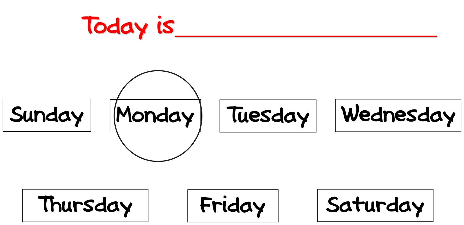 Days Of The Week Printables The days of the week.