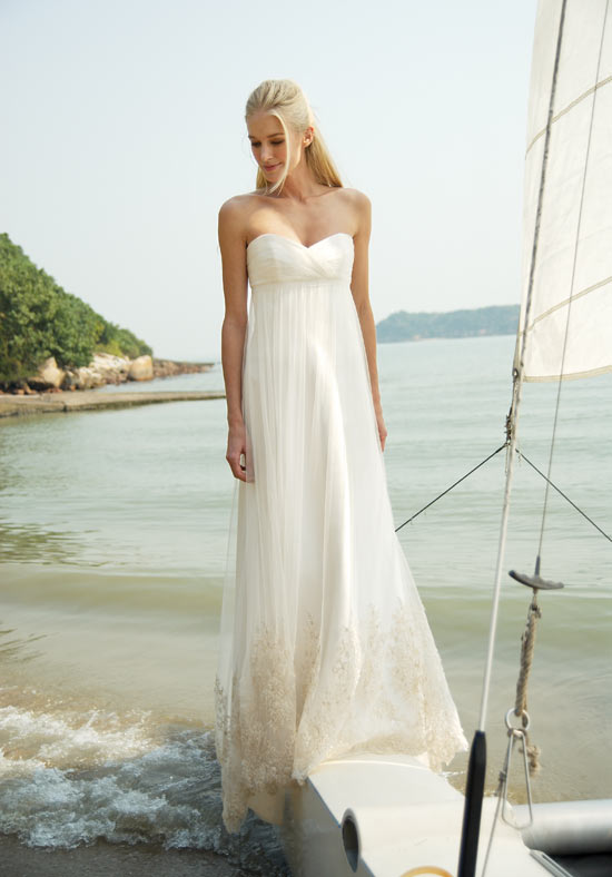 Simply bride looks bridal gowns accessories ideas on for Empire waist beach wedding dress