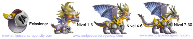 imagen de los niveles de crecimiento del white knight dragon