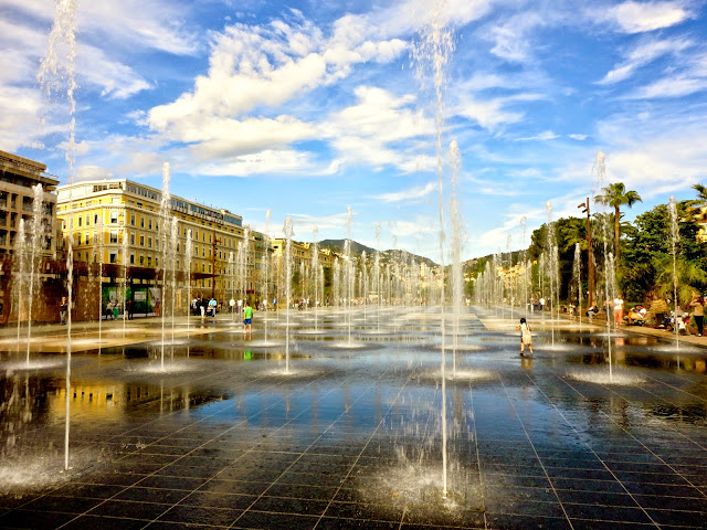 Fountains on Promenade du Paillon, Nice, France