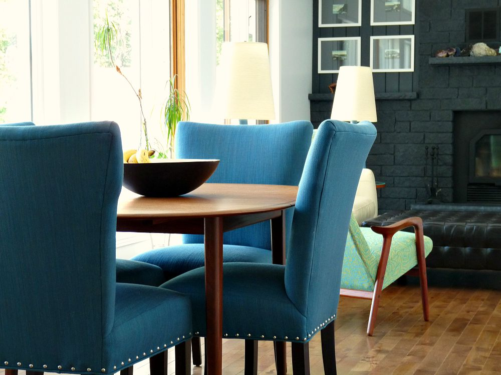 Castraveight: New Blue Tweed Dining Room Chairs Update the Dining Room