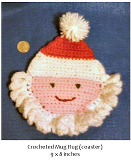 Shades of Safhire -crocheted Santa mug rug (coaster)