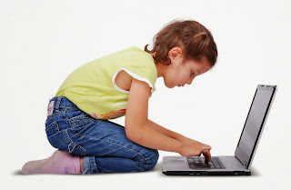 girl searching on laptop