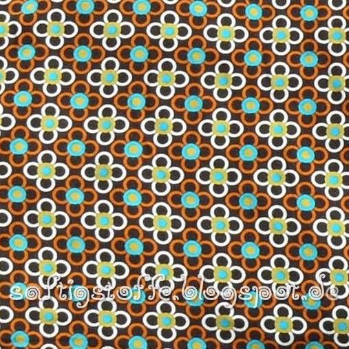braun-orangener Jersey mit Retro-Blumen Motiv