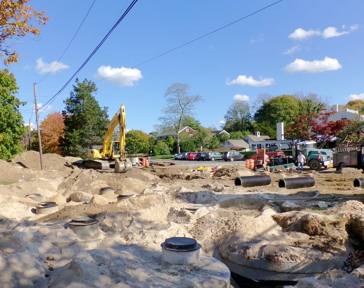 Photo of drainage construction work being done at Bowden Square