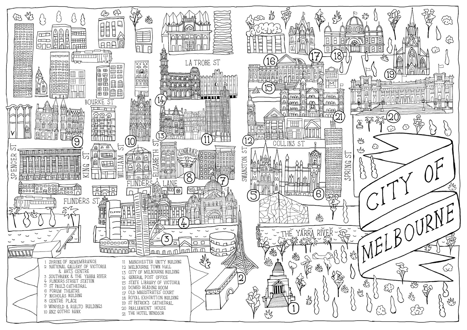 Colouring books for adults melbourne - Melbourne Map