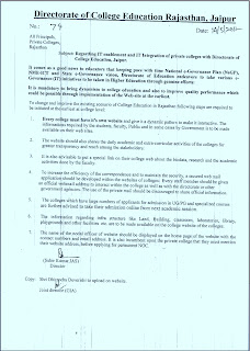 Circular for website in Private colleges, Directorate of college education, Rajasthan