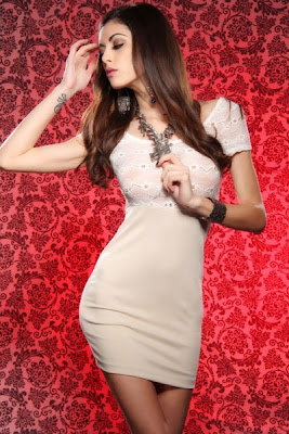 BEIGE SHEER LACE TOP CAP SLEEVES SEXY MINI DRESS