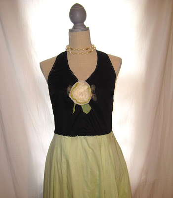Shabby Chic Party Cotton Summer Halter Dress, Handmade Rose Embellished