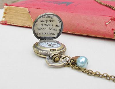 image atticus finch pocket watch necklace to kill a mockingbird two cheeky monkeys jewellery jewelry blue pearl bead heart charm