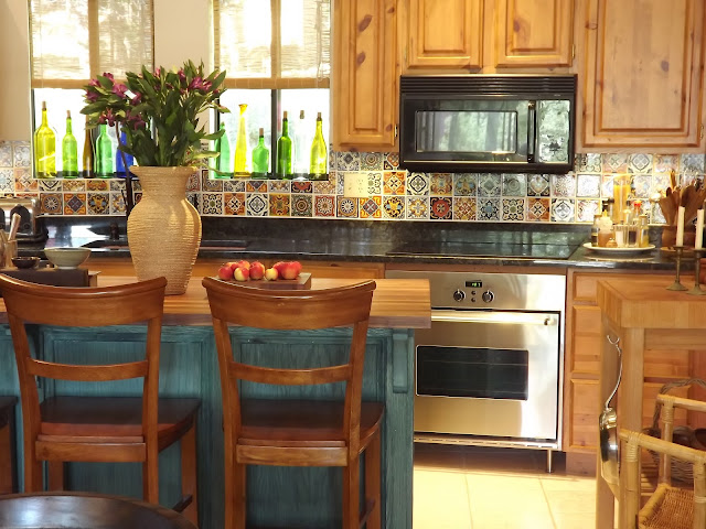 diy kitchen island, kitchen island tutorial, knotty pine cabinets, mexican tile backsplash
