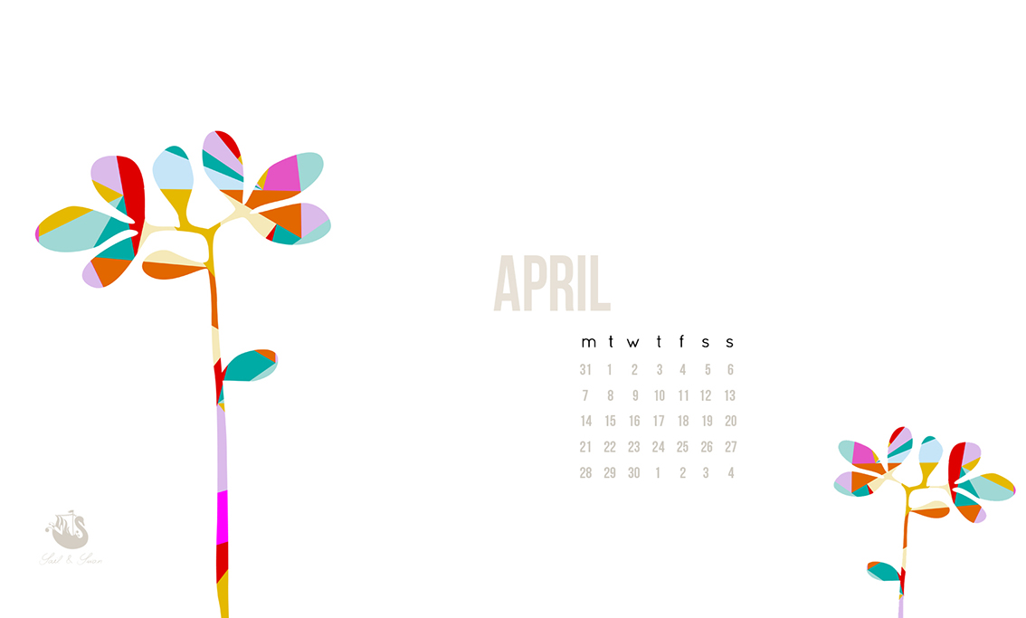 free desktop wallpaper background dowload april geometric plant flower simple sail and swan