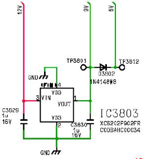 Hình 50 -  Sơ đồ mạch ổn áp tuyến tính tạo ra điện áp 9V từ nguồn 12V.