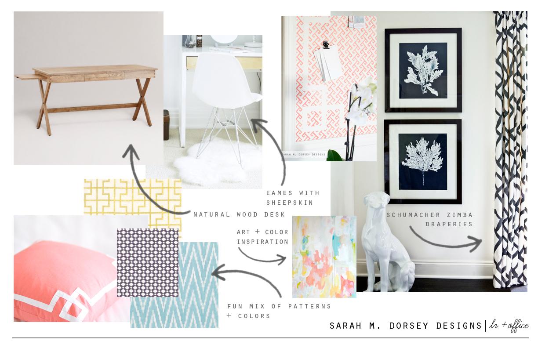 Sarah m dorsey designs living room office updated mood for Room design mood board