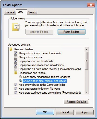 How to enable Show hidden files folders or drives in Windows 7