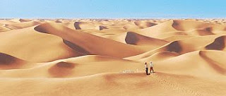 color movie still image of Tintin and Captain Haddock lost in the desert