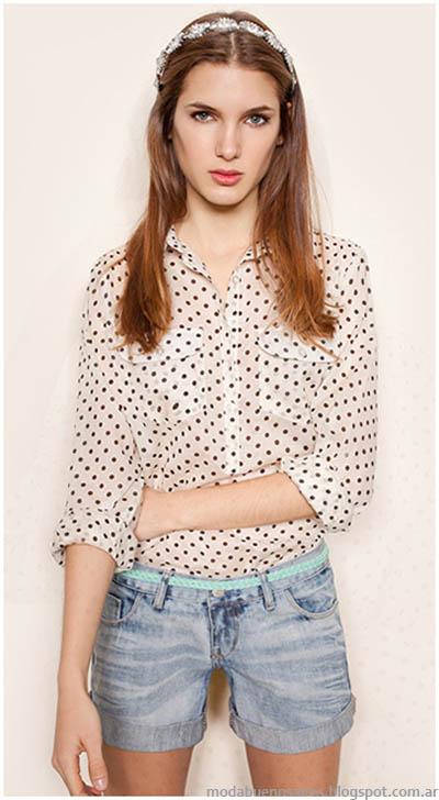 Camisas con lunares Gloria JEans Wear moda 2014.