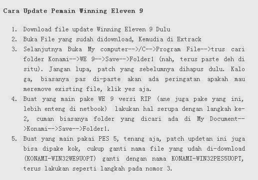 Cara Update Pemain Winning Eleven 9