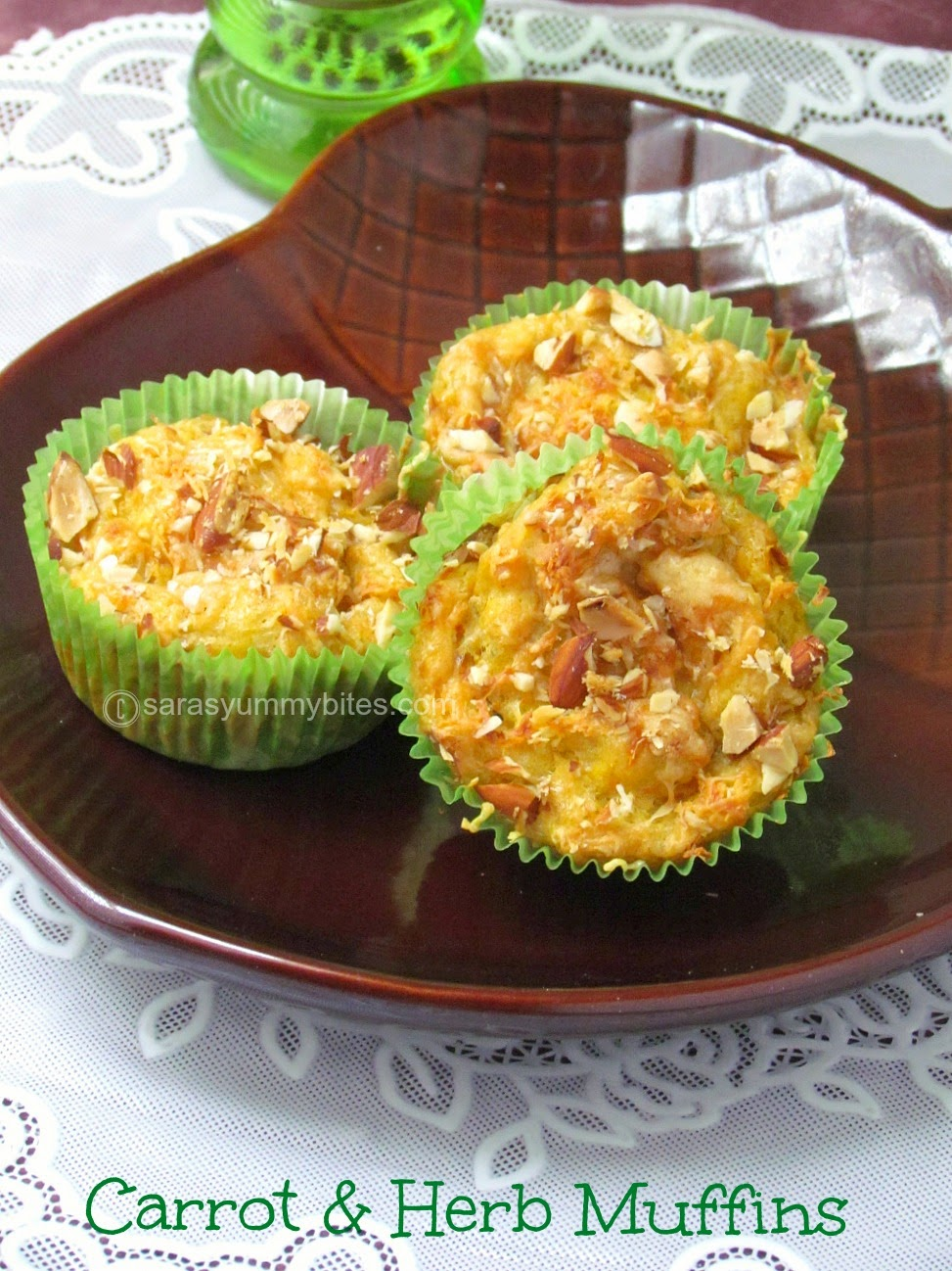 Eggless Carrot & Herb Muffins