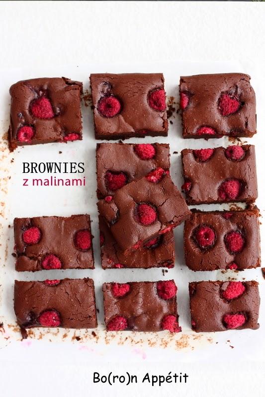 Brownies z malinami