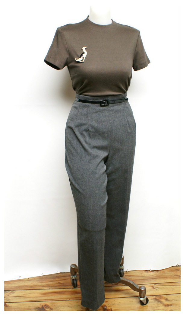 women's charcoal gray high waisted pants in 1950s style