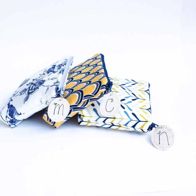 cosmetic bag with monogram zipper pull   Mama Bleu Designs