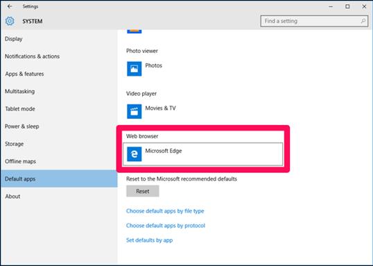 كيفية تغير المتصفح الافتراضي في ويندوز 10