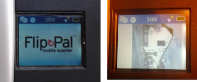 Two images of the little colour screen - one with Flip Pal logo and menu, the other with menu and a sidways partial image of a pub.