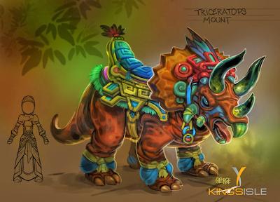 Wizard101 Azteca Concept Art - Triceratops Mount