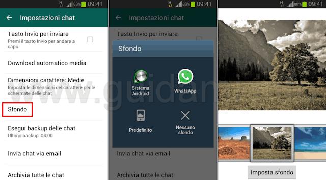 Cambiare sfondo chat WhatsApp