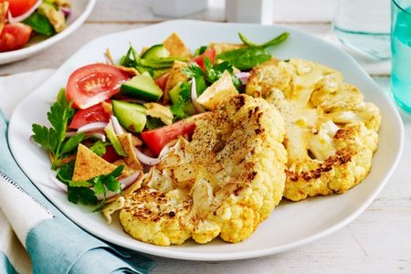 Cauliflower steaks with fattoush picture Cauliflower steaks with fattoush recipe