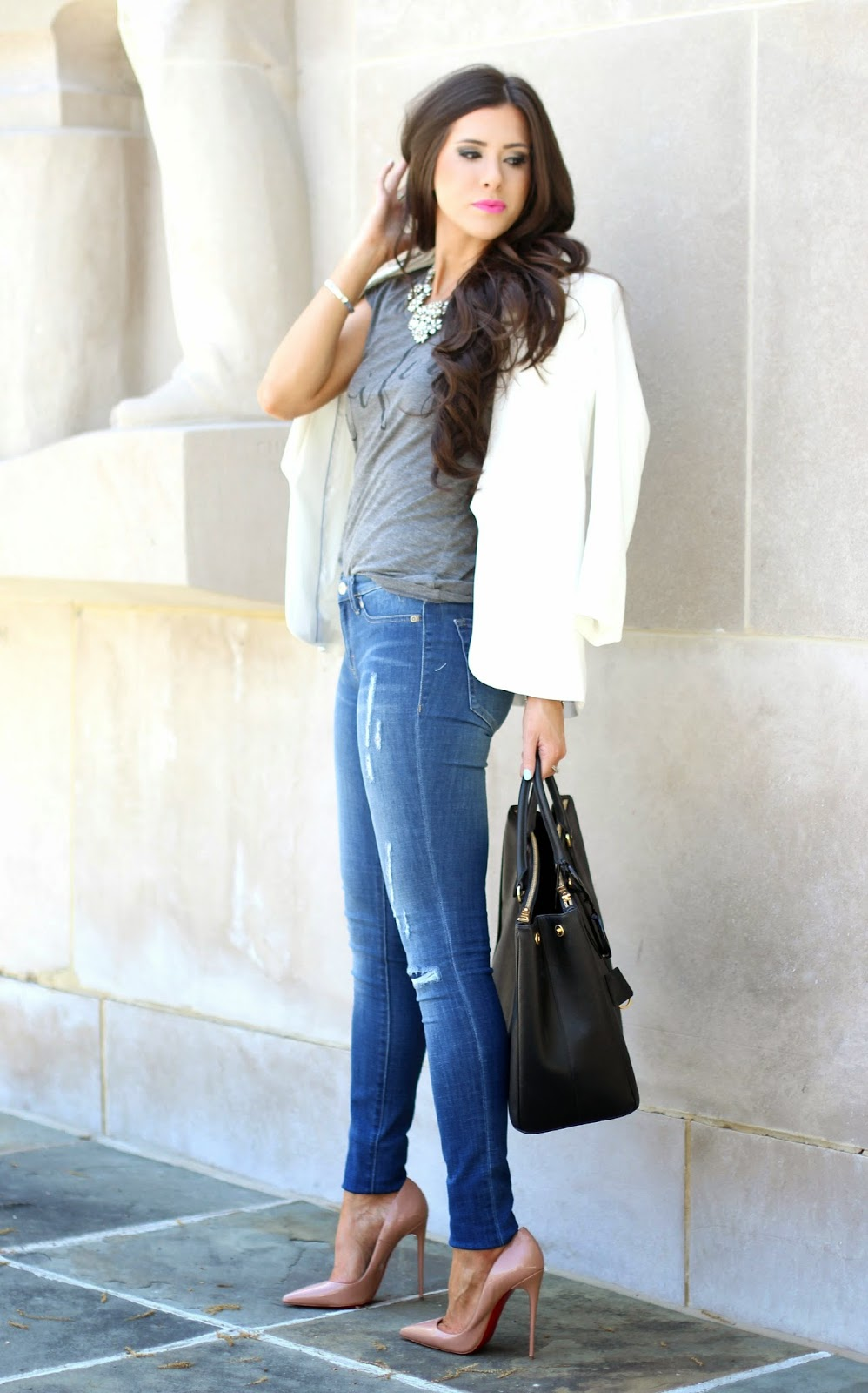 www.TheSweetestThingBlog.com, The Sweetest Thing, Emily Gemma, Emily Ann Gemma on Instagram, Emily Ann Gemma Pinterest, Wifey Tee Shirt, ILY couture Wifey Tee Shirt, How to style a gray tee, dittos skinny jeans, skinny jeans at nordstrom, christian louboutin heels, christian louboutin so kate 120mm, prada executive tote, prada bag in black large double zip, crystal flower necklace jcrew, white blazer, white blazer from nordstrom, white blazer from h&m, white boyfriend blazer, women's long white blazer, how to style a white blazer, how to wear nude pumps with jeans, nude pumps, pinterest summer fashion 2014, pinterest outfits for summer 2014, spring fashion 2014, style blogger, fashion blog with wifey tee