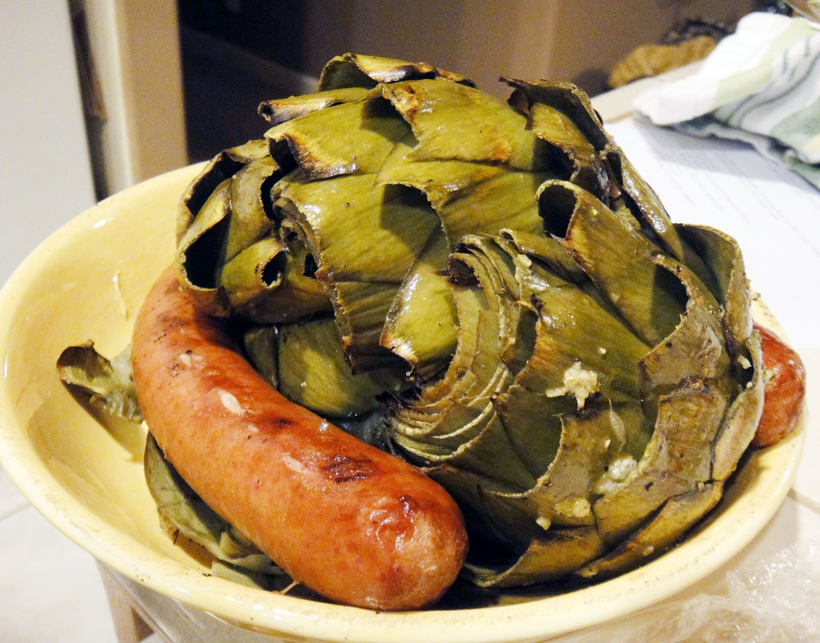 Grilled artichokes and reduced fat kielbasa. Next time, I shall grill ...
