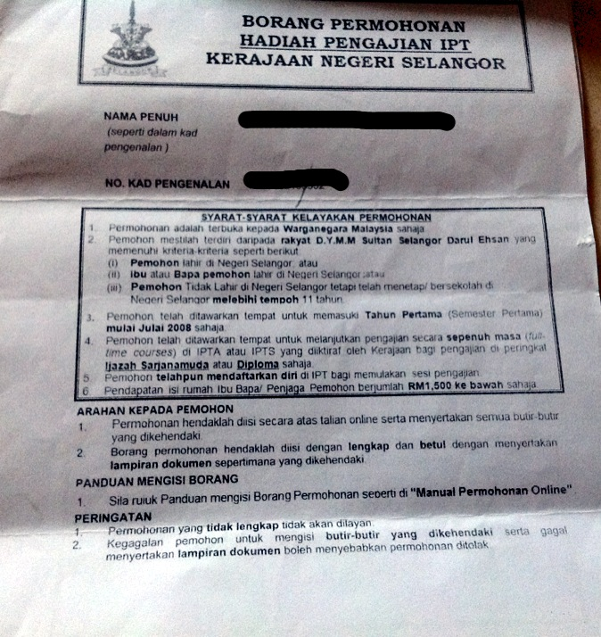 Ummi Iman Borang Hadiah Ipt Negeri Selangor