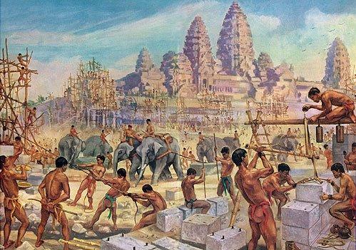 La construction d'Angkor Wat, les ouvriers utilisent les éléphants pour déplacer les blocs de pierres