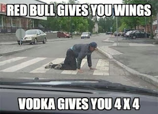 funny picture: drunk man crossing the street