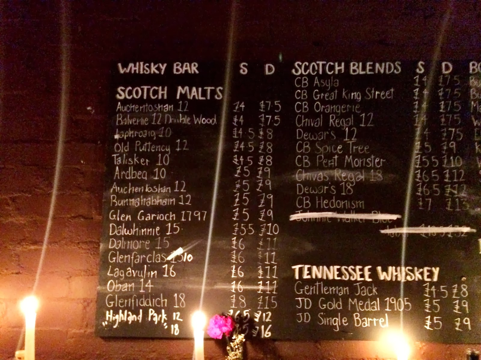 Whisky Bar menu - Hawker House
