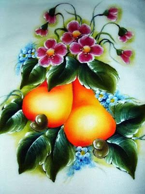 pintura em tecido frutas pano de prato