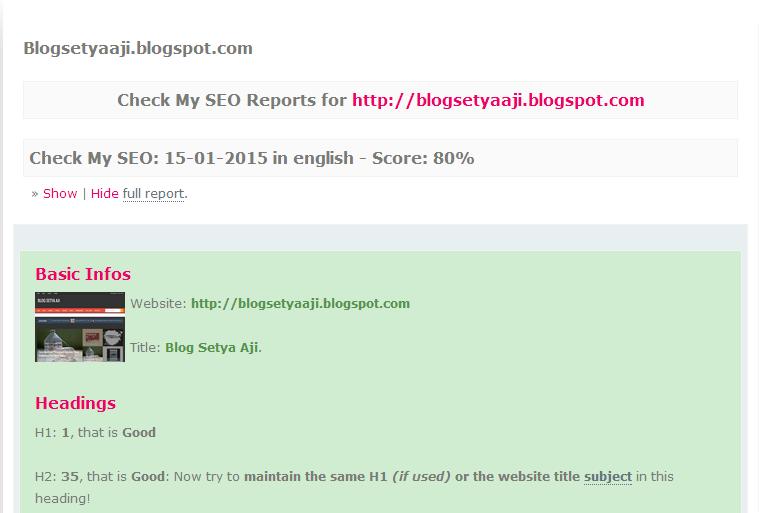 Cara Mengecek Score SEO Blog