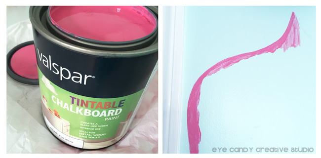 paining the custom chalkboard wall, Valspar chalkboard paint, hot pink