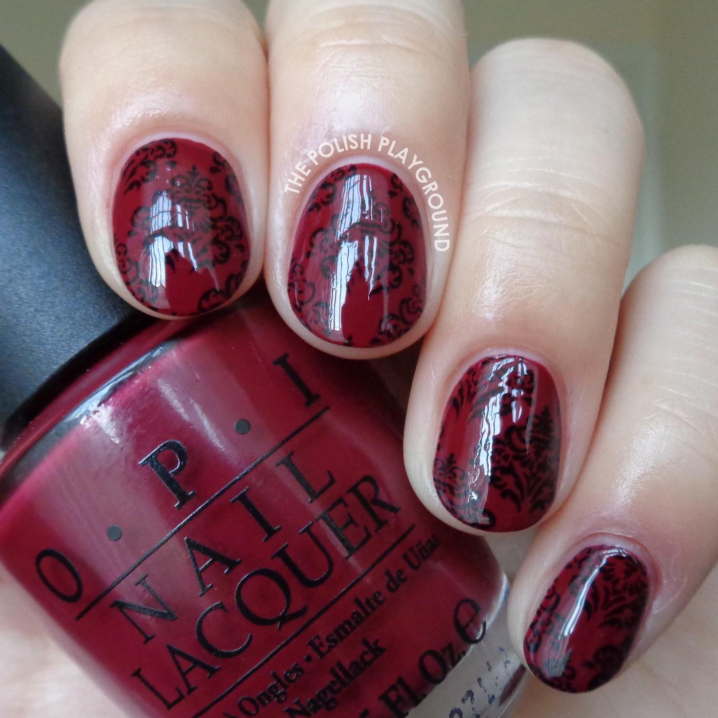 Burgundy Red and Black Vintage Wallpaper Stamping Nail Art