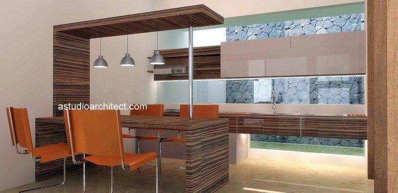 A dapur cozy dengan lampu lampu dan set yang compact for Biaya membuat kitchen set