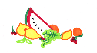 fruit, copic markers, lemon, watermelon, illustration