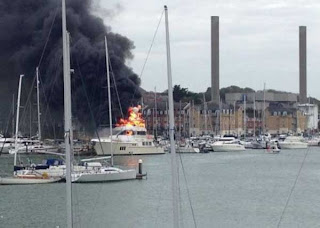 Million Dollars Yatch damaged with Fire