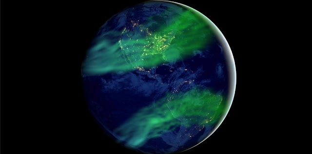 This is an artistic impression of how auroras could be more widespread under a geomagnetic field much weaker than today's. Credit: Huapei Wang, with source files courtesy of NASA's Earth Observatory/NOAA/DOD