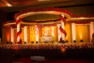 Beautiful betrothal stage decor at Hotel crowne plaza cochin